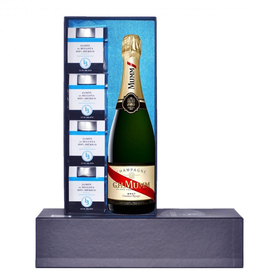 Estuche 4 tarros de Jamón de Bellota 100% Ibérico + Champagne Krug